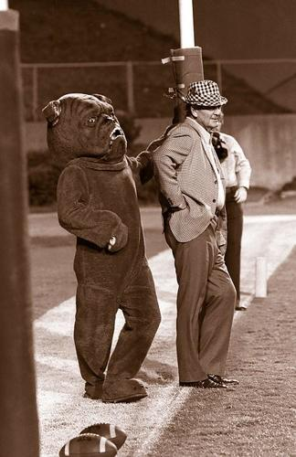 Mississippi State's creepy mascot bothering a hero. http://t.co/HhQN3ucQDB
