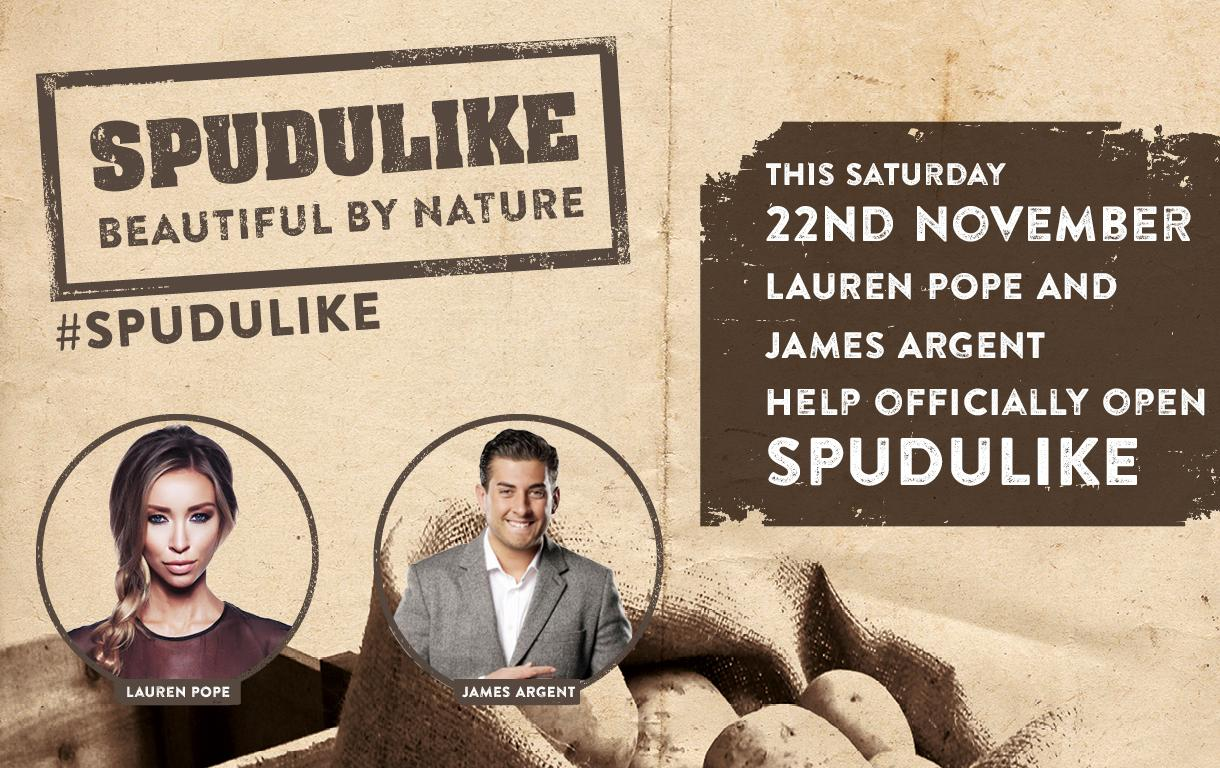 RT @intuLakeside: Excited for the #SPUDULIKE launch tomorrow with @LaurenPope and @RealJamesArgent PLUS 100 free jacket potatoes! http://t.…