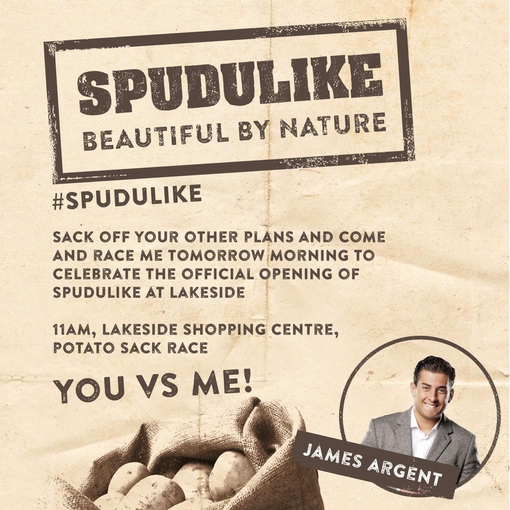 New #SPUDULIKE restaurant opening @intuLakeside 2morrow!Who wants to challenge me in a potato sack race? #youvsme #Ad http://t.co/JafK8BU9J2