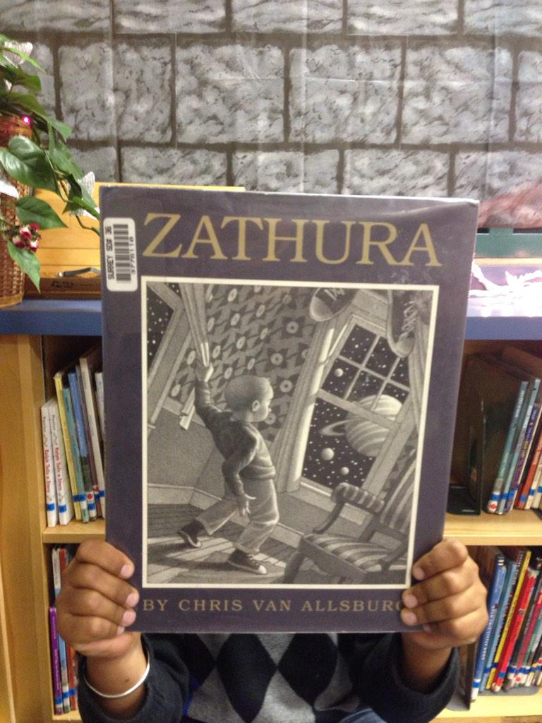 I read Zathura. The kids played a game and it came to life and a meteor came through the ceiling. ID #gvlearn http://t.co/QM3aeo75KX
