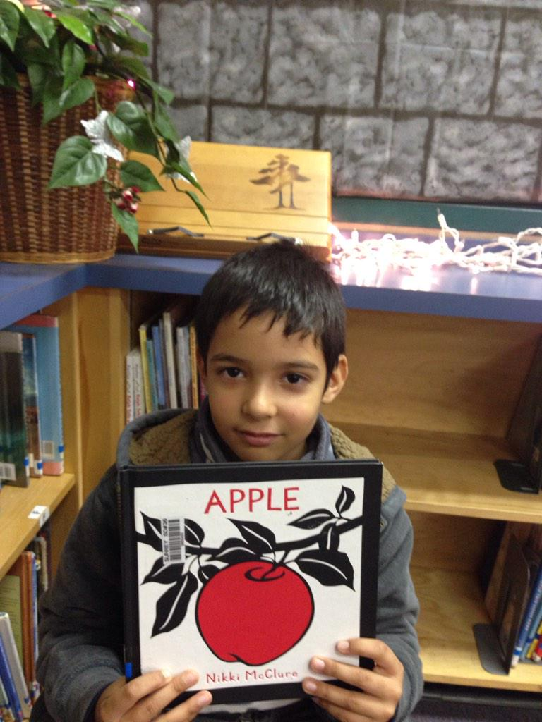 My book is called Apple. The apple fell from the tree.  The girl took one. She shared it. JA. #gvlearn http://t.co/Rf2soVHSSI