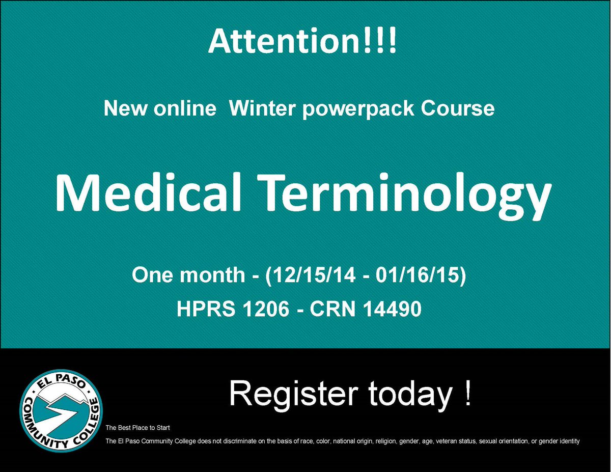 Epcc on twitter complete a medical terminology course in just 1 epcc on twitter complete a medical terminology course in just 1 month register now epccnews wintermester registernow httptfumfrshtlg 1betcityfo Images