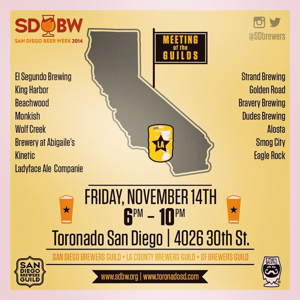 Head to @toronadosd 2nite, hang w/ @sdbrewers @LABrewers & @sfbrewersguild for the FIRST #SDBW Meeting of the Guilds http://t.co/Ou5jS2p7GW