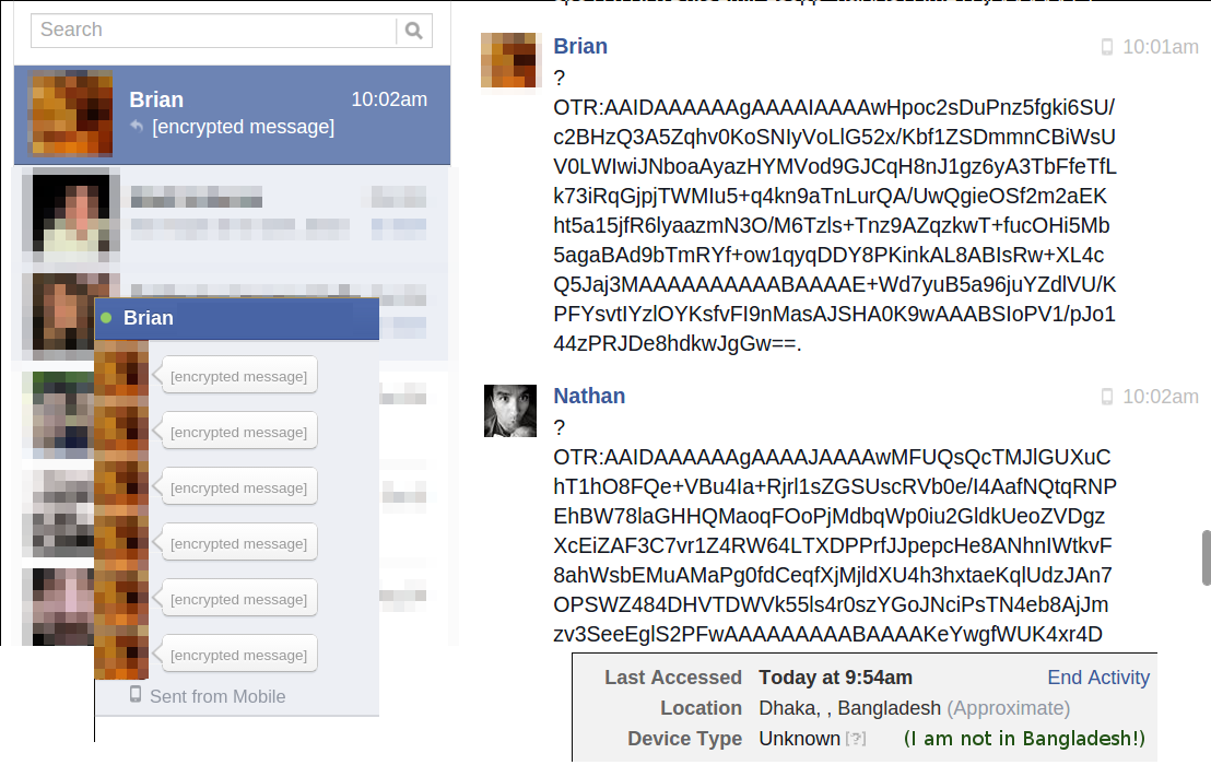 Encrypted chat over Facebook via @TorProject and @ChatSecure.... because, we can! http://t.co/Ch6OOnWBKF