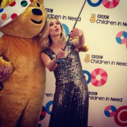 Pudsey experiencing the selfie stick for the first time. He thought the shot was rather unflattering http://t.co/hirsKK9yVM