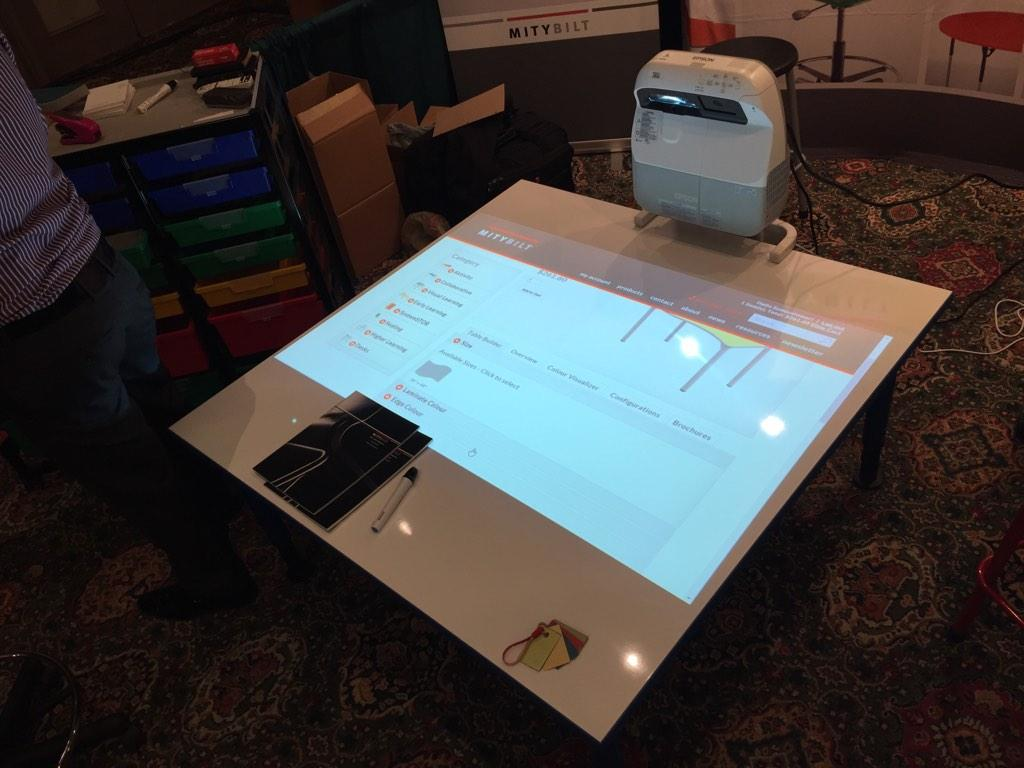 This is something I would love to have in my classroom: projector on a whiteboard desk #STAO2014 http://t.co/AEhXGQnQQm