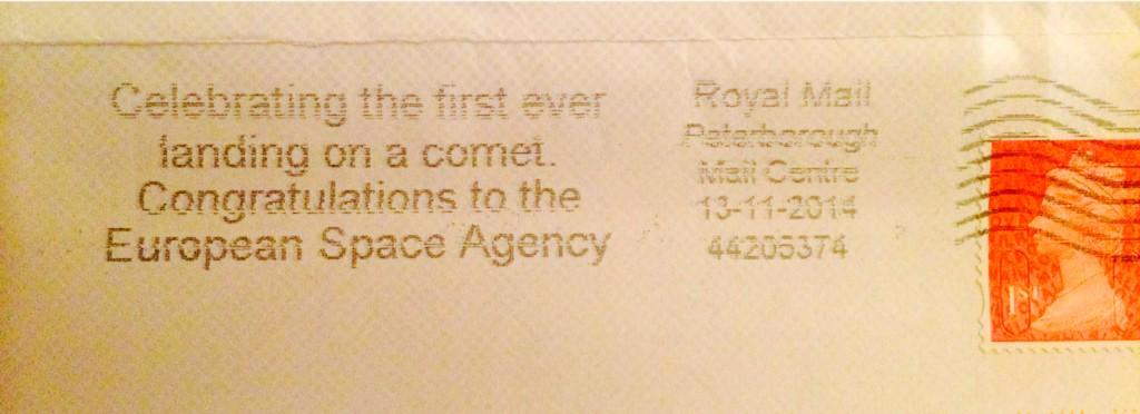 Bloody loving @RoyalMail's hat tip to @ESA_Rosetta, on my mail today. Nice touch, guys. Very nice #fb http://t.co/UmPPG7MQOM