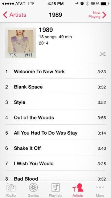 Dude...playing @taylorswift13 obsessively. Continuously. Recklessly. #TS1989 http://t.co/1XGqhUHDae