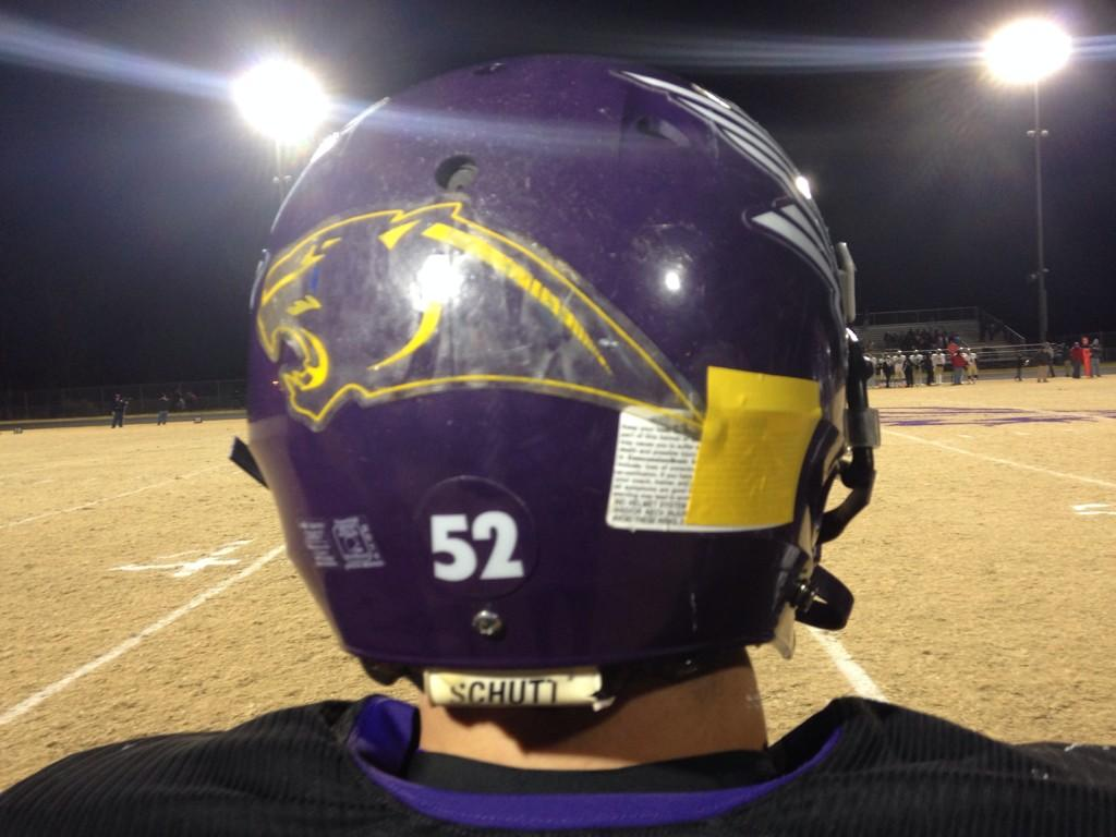 Northern Guilford rocking gold patches In honor of Dudley High School.This kid also has a Panther decal on his helmet http://t.co/VXFEJe02Ey