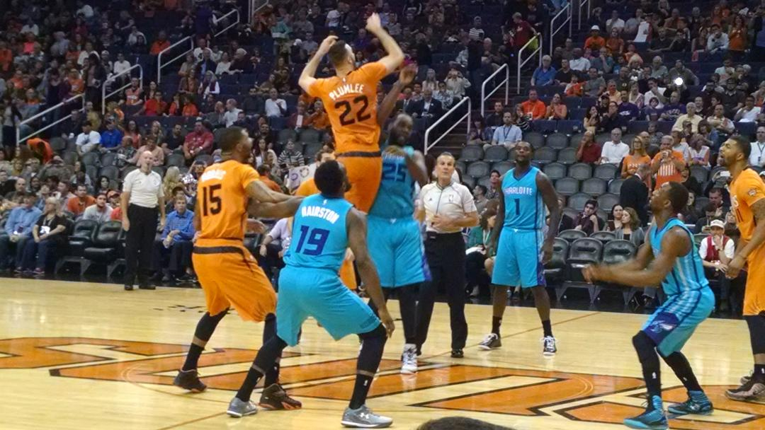 One of the more colorful matchups you'll see in the @Nba underway in PHX. #SunsvsHornets http://t.co/fCqru5Z6UD