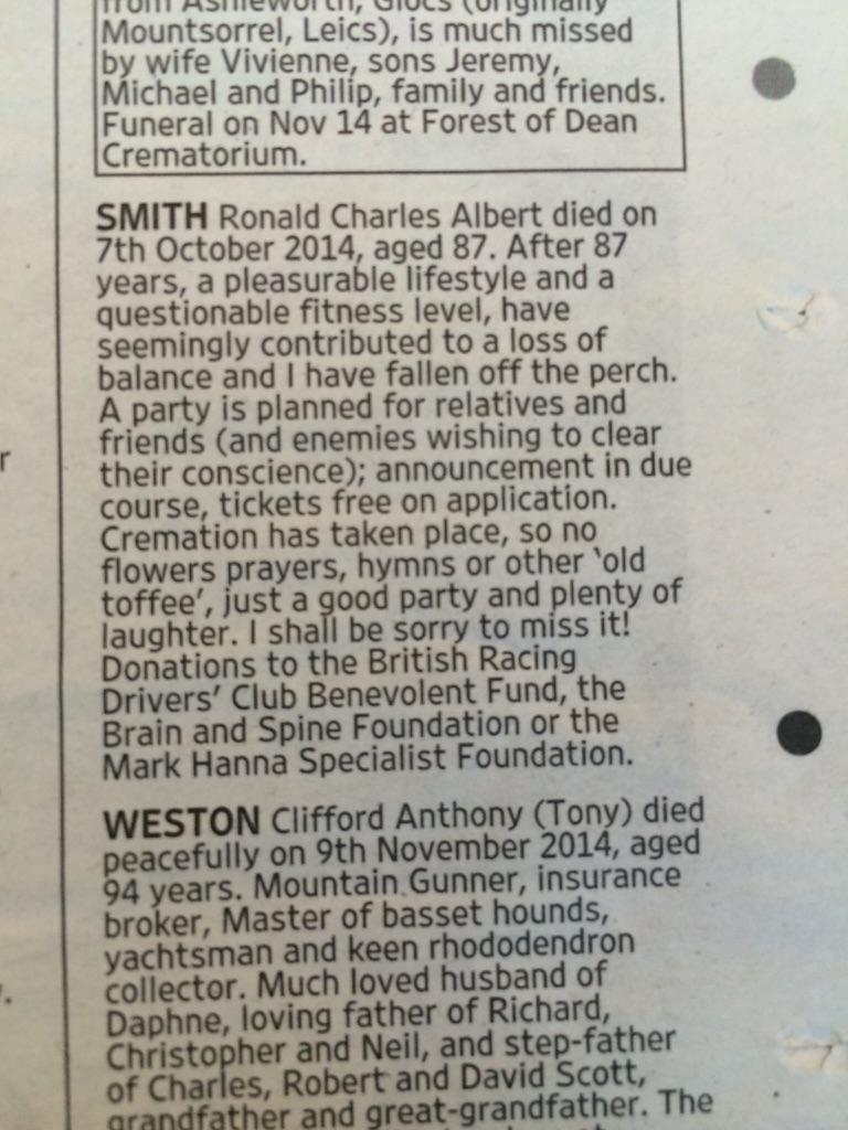 Cracking obituary in Thursday's Times... http://t.co/SqYh8AnDHo