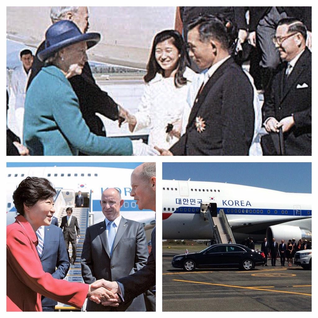 46 years ago when President Park came to Australia he brought his daughter with him. Now she returns as President. http://t.co/zoAh5hP2TC