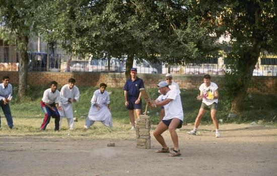 Fromarchives Australias Damien Fleming Shane Warne Steve Waugh Playing With Locals During Tour To Pakistan 1994