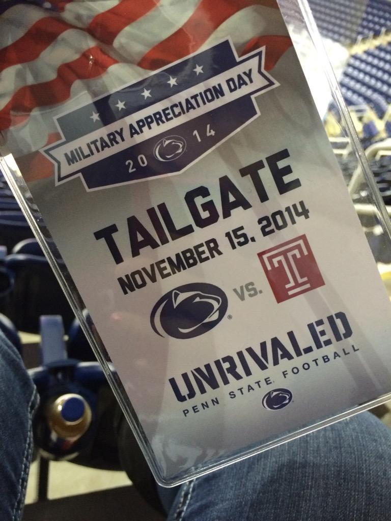 Military Appreciation Day 2014 💙 Penn State vs. Temple Game #PSUmilitary http://t.co/CcA3iH8OZM