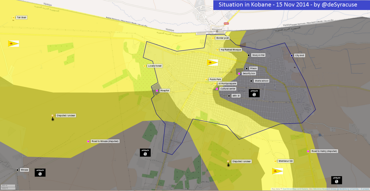 Agathocle deSyracuse on Twitter Kobane battle situation MAP