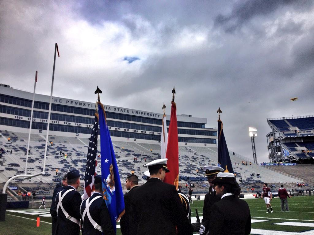 Beaver Stadium is getting ready to welcome U.S. veterans in celebration of Military Appreciation Day. #PSUmilitary http://t.co/NA38JqFFyq