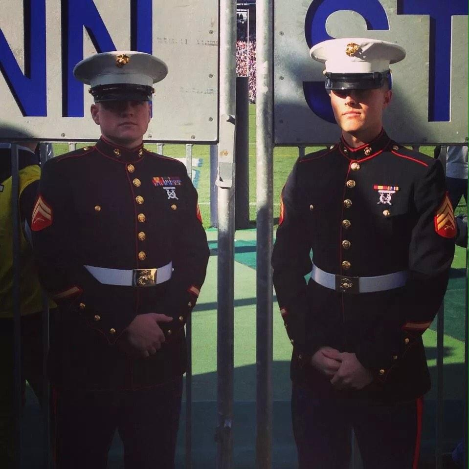 #PSUMilitary Sgt Mullis and (now)Sgt Wolfe at last years military game! Sgt Mullis is founder is Superheres For Kids http://t.co/5nrz4HPTEB