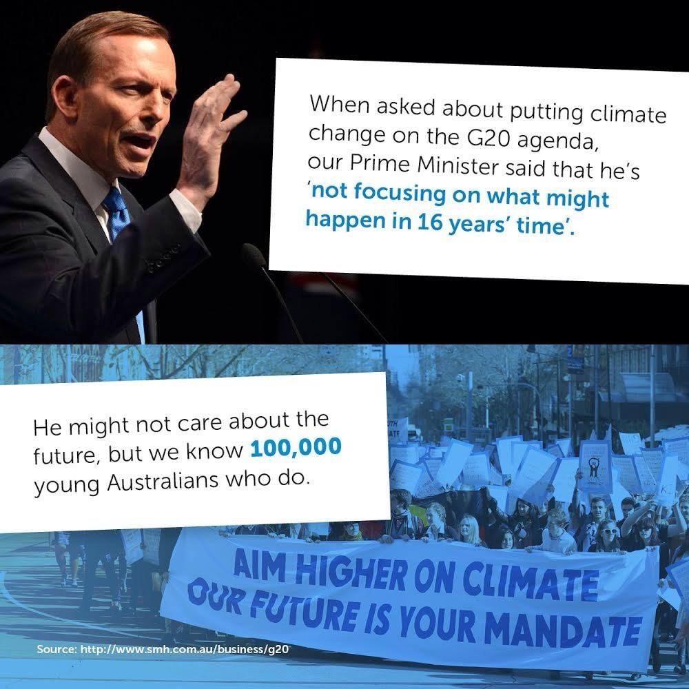 Tony is short sighted and selfish when it comes to climate. As young people, we won't stand for it. #onmyagenda http://t.co/DpYbd4OeDl