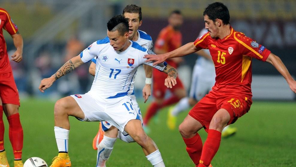 Ademi playing for Macedonia