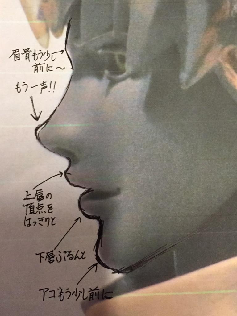 NEYさんが「TLに顔の写真を上げると、梅さんチェックが飛んでくるの巻w」とおっしゃってますが、実際には「上げといたから添削よろ!」って感じですw で、それをプリントアウトしてボールペンでグリグリ自分好みのラインを描き込んだのがこちら