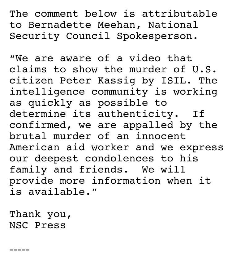 Statement from @NSCPress ISIS video claiming killing of aid worker Abdul Rahman (Peter) Kassig http://t.co/WuSZRCku5O