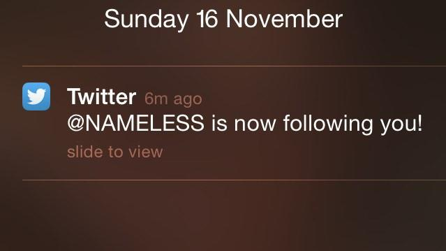 Cheers for the follow @NAMELESS!