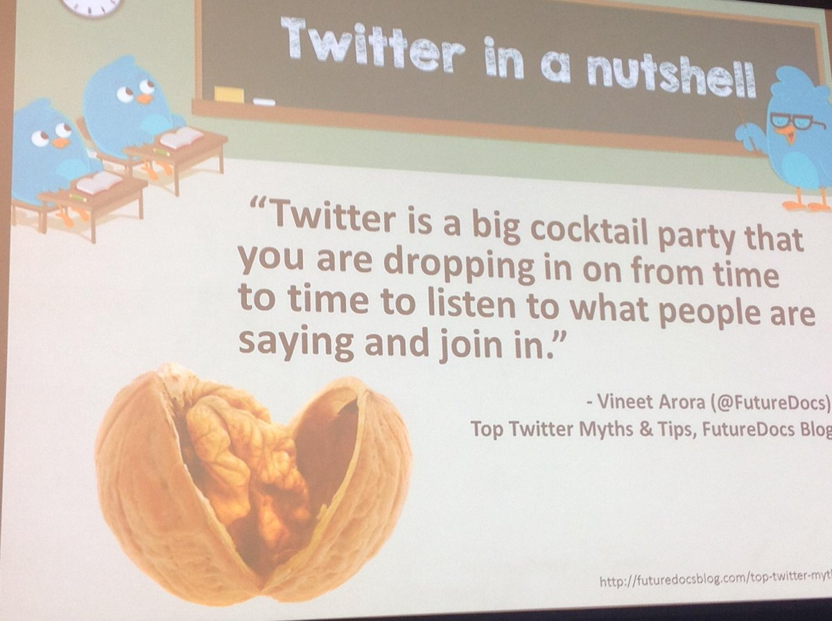"""@PhilipGardiner: What is Twitter all about? It's like a cocktail party… @RheumPearls at #ACR14 #ACRSocMed http://t.co/Ey9SepEqh3"" #hcsm"