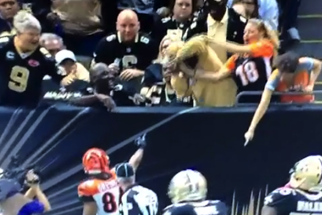 Black Saints fan throws elbow into white woman's face for ball (Video)
