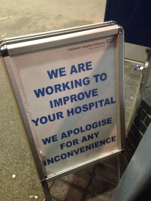 Sign outside Colchester hospital. Patient says 'they can't cope - don't have enough staff. Disgusting'. #radio4 http://t.co/9aBvdK3Mwu