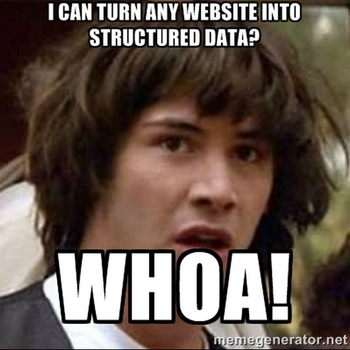 Mind = Blown. Turn any webpage into an API? Whoa.@kimonolabs is crazy good. #tools http://t.co/KGAX2U6WrF