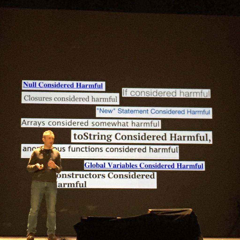 """Considered harmful"" is considered harmful #dotJS http://t.co/QmcvSHvQ0d"