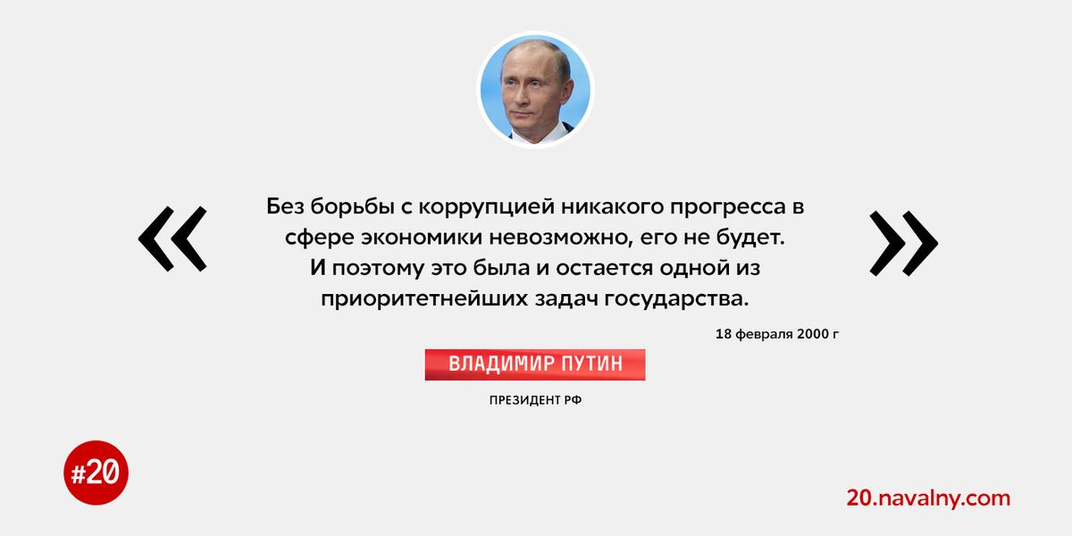 В России при Путине коррупция выросла неприлично