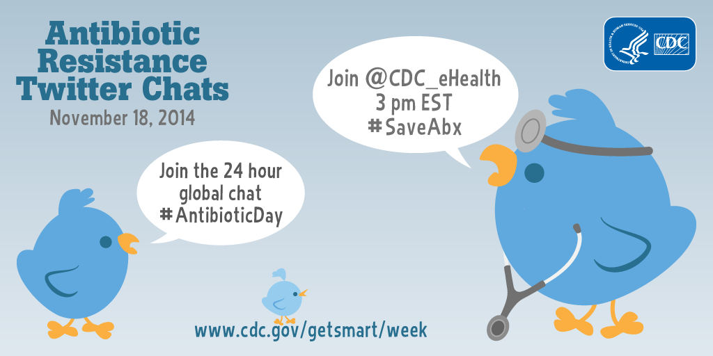Join antibiotic resistance chats tomorrow. It's Get Smart About Antibiotics Week! #SaveAbx #AntibioticDay http://t.co/iMKxLwUYMO