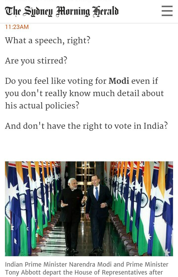 Here's what an Australian newspaper writes while covering @narendramodi speech live !! http://t.co/pNuAG0mk50