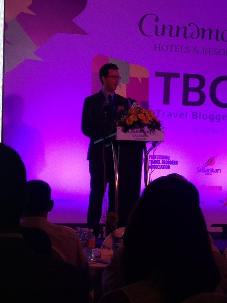 Chris Martin, President of Professional Travel Bloggers Association, speaks at the #TBCAsia #lka http://t.co/iC3VSuZIZI