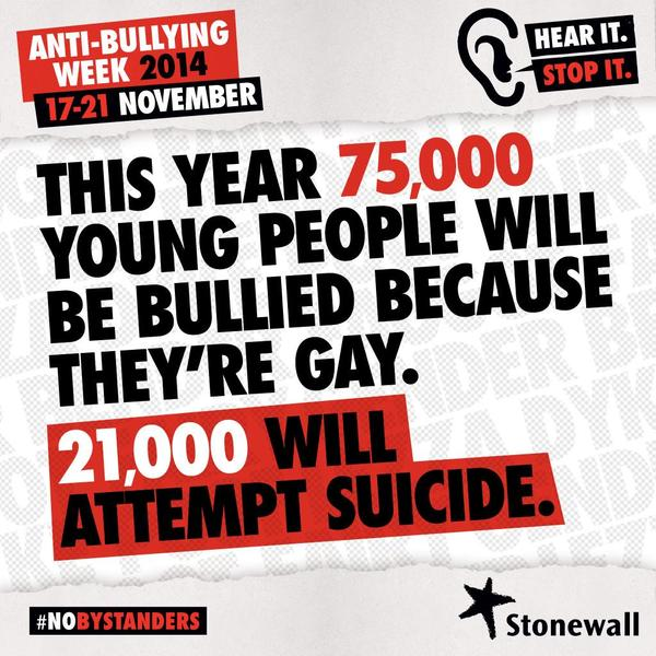 This is a horrific statistic and that's why we're supporting @stonewalluk #NoBystanders #AntiBullyingWeek. http://t.co/77O2M39RHB