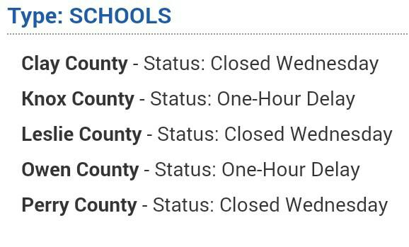 East Ky Roads Wx On Twitter Check Out Your Local School Closings
