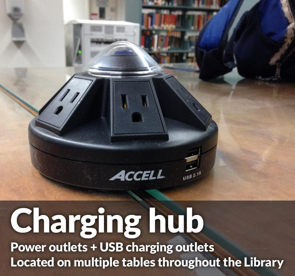 Charging hub at Lloyd Sealy Library