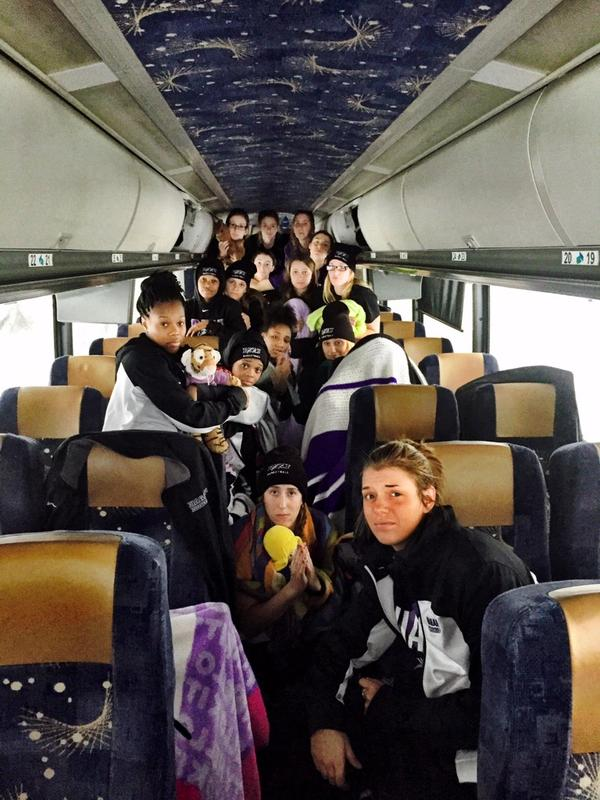 Niagara Univ Women's Basketball team @NiagaraWBB has been stranded on bus on Thruway since 2 a.m. due to #snow @WGRZ http://t.co/tBowCsnxkg