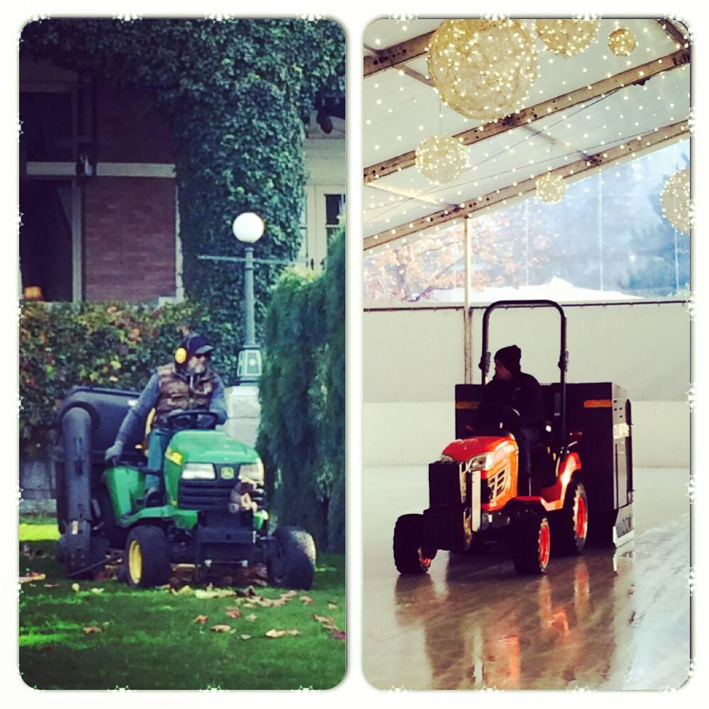 First time we've cut grass and zambonied ice on our front lawn in the same day #yyj #EmpressSkate http://t.co/0ez0ymn69b