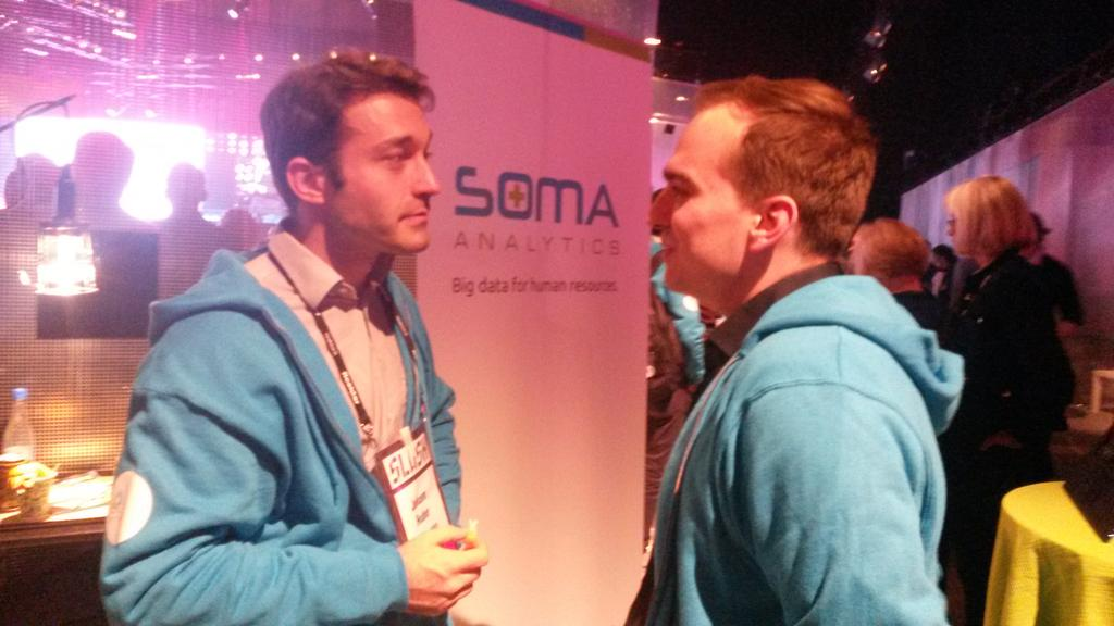 The #startups @SlushHQ are so busy. Some didn't even had time for lunch. Johann @SomaAnalytics found an orange.