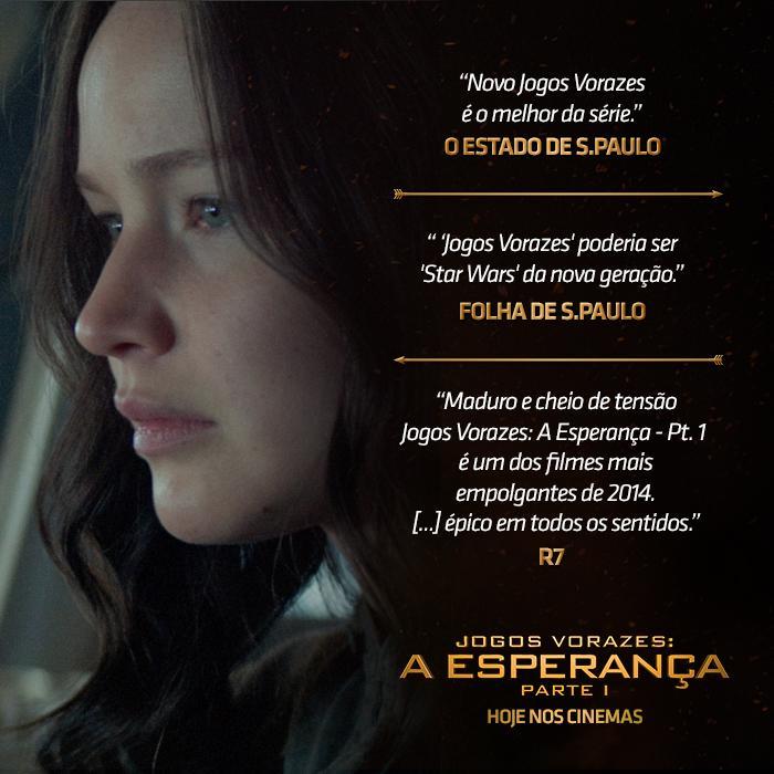 O filme #JogosVorazes: #AEsperança - Parte 1 está sendo apontando por todos como o melhor da saga. HOJE NOS CINEMAS! http://t.co/FUaPOHUXpu