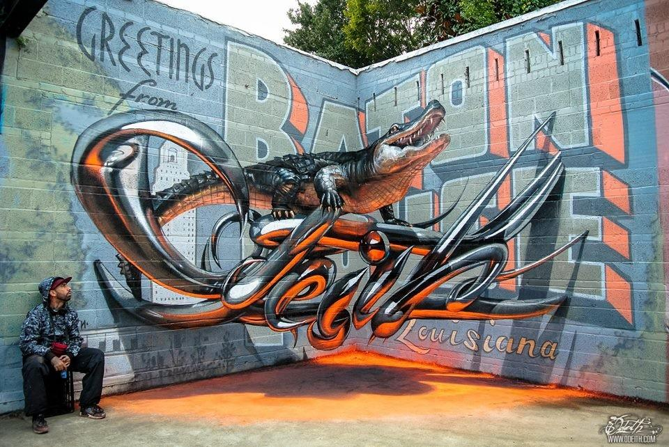 #Odeith the great in Baton Rouge, Louisiana. #graffiti #illusion #3d #streetart @odeith (http://t.co/I6LrLYnbPe) http://t.co/WTyzMSIclH