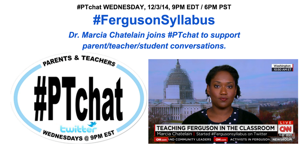 Almost time @DrMChatelain joins #PTchat on #FergusonSyllabus & how parents/edus can have healthy, open convos w/ kids http://t.co/x80Hn4Q3Hu