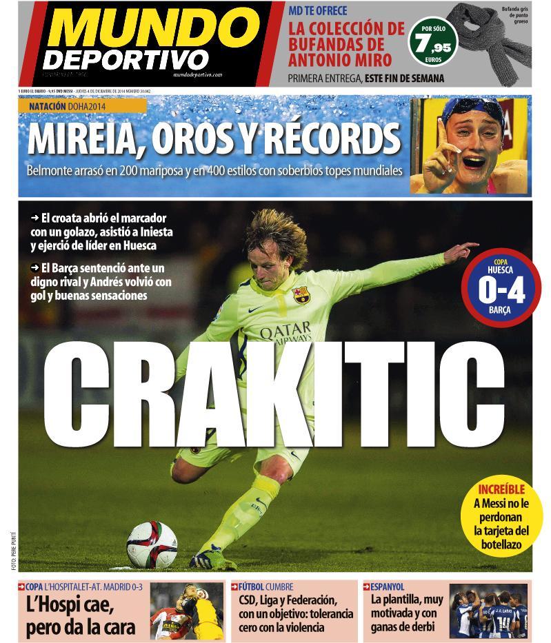 Portada de Mundo Deportivo del 4 de Diciembre