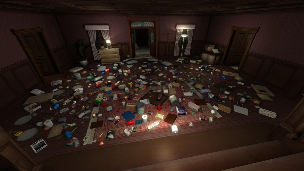 Gone Home persists the location of each object in the game. So some folks move them all to one room #becausetheycan http://t.co/wNSdnzuA4v
