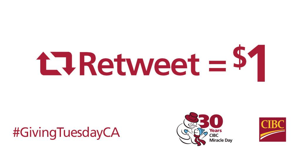 It's #GivingTuesdayCA! RT this message today and we'll donate $1 (up to $10K) to #CIBCMiracleDay kids' charities. http://t.co/IHtBgIc521