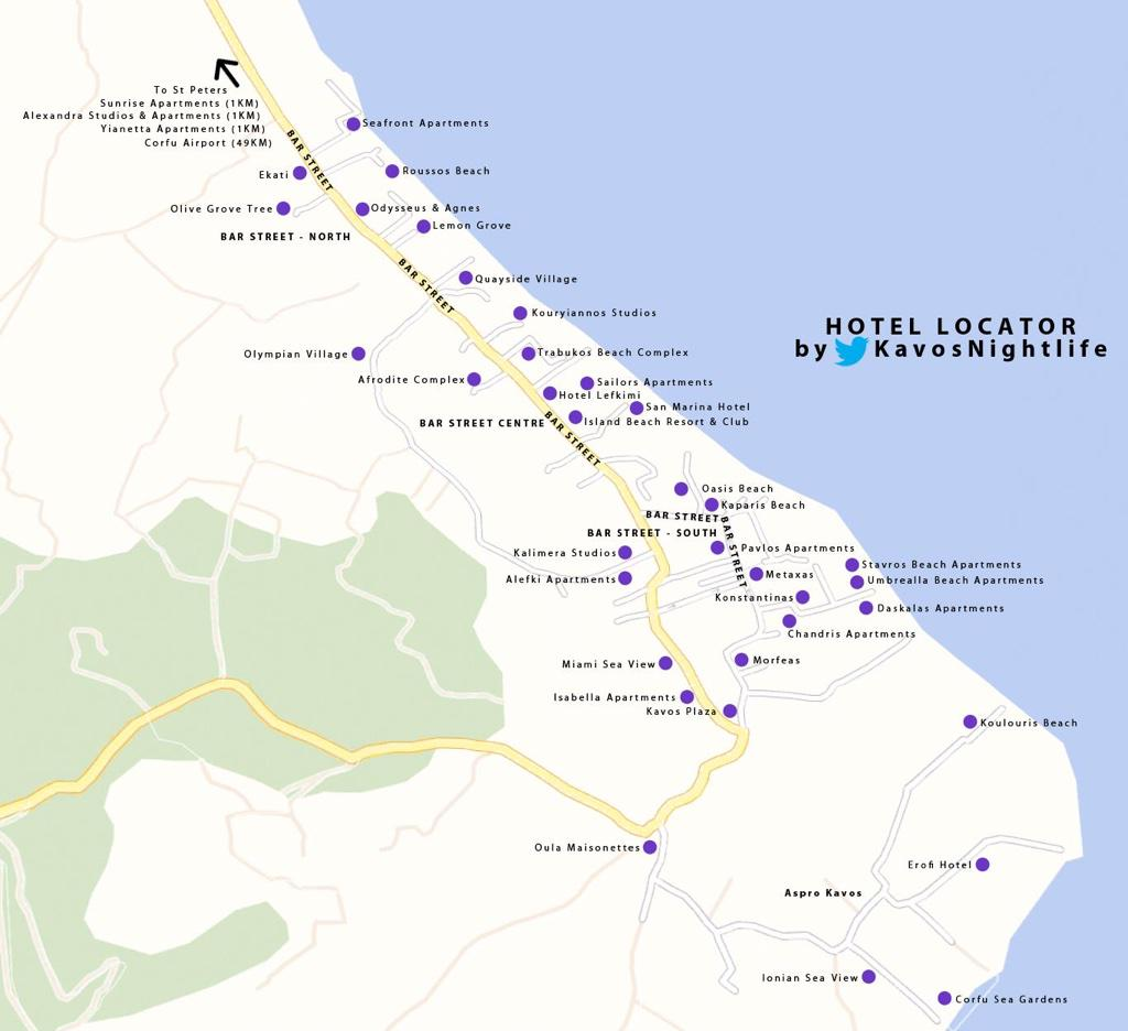 Kavos Nightlife On Twitter Wondering Where Your Hotel Is The Strip Ekati Olympion Odysseus Morfeas Lefkimi Trabukos Island Quayside
