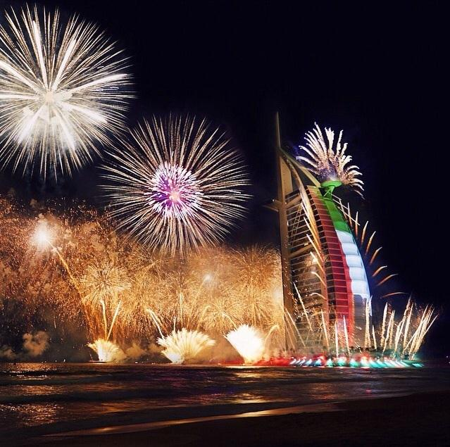 كل عام وإماراتنا بألف خير Happy 43rd #NationalDay to our beloved UAE! Thank you Elisa #BurjAlArab #MyDubai http://t.co/kcgvUTNrMf