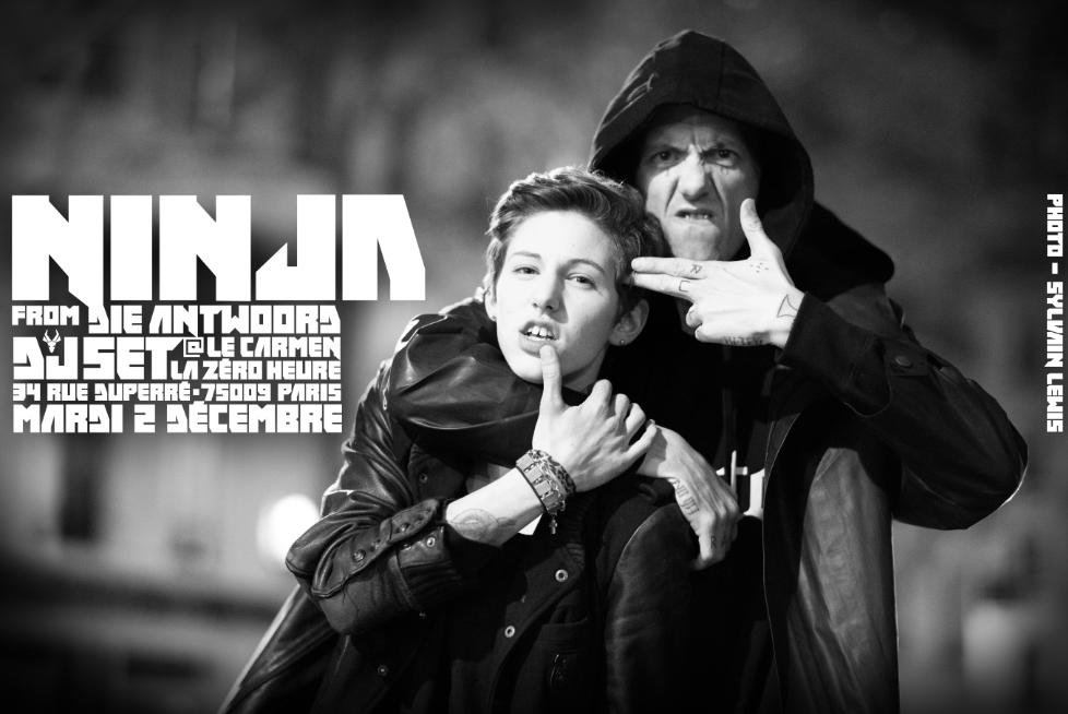 Ninja @DieAntwoord ce soir dès minuit entrée libre. Nous nous excusons par avance si tout le monde ne peut pas entrer http://t.co/SCKRAq0Yar